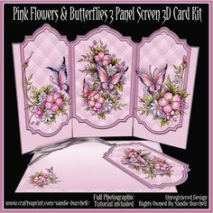 - Lovely Pink Flowers & Butterflies 3 Panel Screen Card Kit which slots together. Beautiful design that is very easy to mak. Fun Fold Cards, 3d Cards, Folded Cards, Screen Cards, Homemade Greeting Cards, Card Making Kits, Pink Cards, Shaped Cards, Get Well Cards