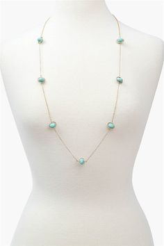 Long Chain Necklace - Turquoise