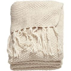 H&M Moss-knit blanket ($59) ❤ liked on Polyvore featuring home, bed & bath, bedding, blankets, fillers, blanket, throw, items, light beige and ivory throw