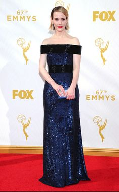 Sarah Paulson in custom Prabal Gurung at the 2015 Emmys