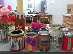 Seven B Grade made can from recycle paper tissue, can, etc.