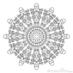 Circular pattern mandala  spring easter