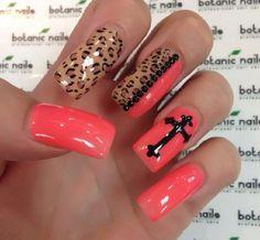 #nAils #lovethis #nailart #crosses && #leopard
