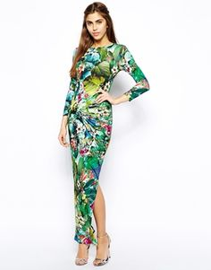 $76 Image 1 ofRiver Island Maxi Dress In Tropical Print