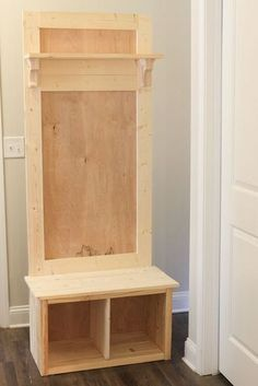 How to build a hall tree bench! This DIY hall tree is budget friendly and easy to build. It's perfect for small space organization entryways mudrooms laundry rooms apartments and more! Entryway Hall Tree Bench, Door Hall Trees, Door Bench, Door Tree, Small Entry Bench, Entry Hall, Front Entry, Entry Coat Rack Bench, Mudroom Bench Plans
