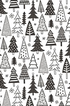 Christmas Holiday Forest Trees Black White by caja_design - Hand illustrated black and white christmas trees on fabric, wallpaper, and gift wrap. Holiday gift wrap perfect for kids and adults! #holidaydiy #giftwrapinspo #wrapit #diyholiday #diychristmas