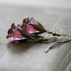 Jewelry, Flower Earrings, Vintage Style Jewelry, Lilac Earrings, Lucite Flowers with Brass - French Lilac. $18.00, via Etsy.