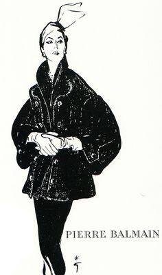 René Gruau. Balmain. Fashion sketch.