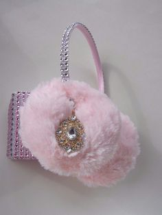 Scream Queens Pink Ear Muffs Hearts Earmuffs Earring Rhinestone Headband Crystal #earmuffs #party
