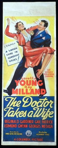 doctor movie posters | DOCTOR TAKES A WIFE Movie Poster 1940 Ray Milland Loretta Young RARE ...