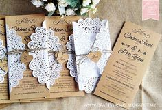 Doily Inspired Brown Rustic Wedding Cards for garden rustic wedding malaysia