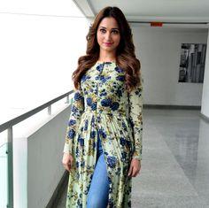 dark blu kurti in jeans thighs Bollywood Actors, Bollywood Celebrities, Tammana Bhatia, Looking Gorgeous, Beautiful, Long Tops, Navel, Kurtis, Indian Beauty
