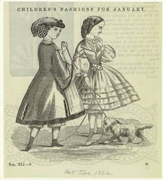 Children's Fashions for January, Peterson's Magazine 1862. NYPL Digital Gallery -