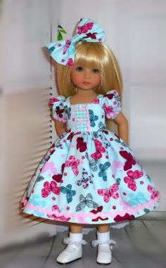 "Handmade-dress-and-hair-bow-fits-Dianna-Effner-13"" little-darling-doll"