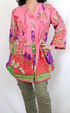 Soft Surroundings NWOT Cotton Button Down Floral Pintuck Tunic Pink Sz S #SoftSurroundings #Tunic