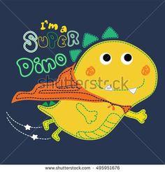 Cute superhero dinosaur flying. Artwork design.