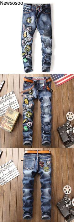 061989b370fa European American Style 2018 Men casual denim trousers cotton luxury famous  brand jeans Straight slim zipper