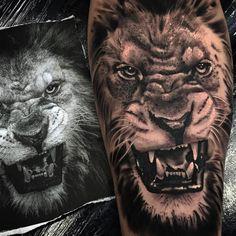 Leão em realismo feito por Chico Morbene.  #tattoo #tatuagem #art #arte #realismo #pretoebranco #leao