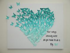 Hand-made Butterfly Heart Art with Quote by MyHappyHeartArt