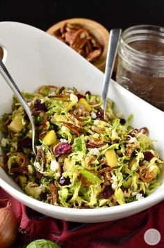 Fall Shredded Brussels Sprouts Salad is crispy and crunchy, and full of fresh and savory flavors! Is it crazy to be thinking about Thanksgiving meal planning already? I know it's not even Halloween Shredded Brussel Sprout Salad, Sprouts Salad, Brussels Sprouts, Salad Recipes Gluten Free, Healthy Salad Recipes, Clean Eating, Healthy Eating, Sprout Recipes, Side Dish Recipes