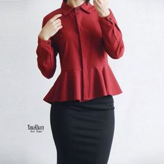 Ruffle Peplum Tops Women Fashion Collar Chiffon Blouse Women's With Long Sleeve 2017 Spring Slim Casual Office Shirt White Red