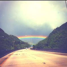 Driving to a rainbow