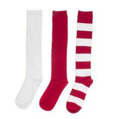Red + White 3-Pack Knee-High Socks