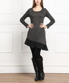 Love this Charcoal Asymmetrical Ruffle Scoop Neck Dress by Reborn Collection on #zulily! #zulilyfinds