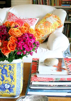 orange and hot pink: beautiful floral arrangement