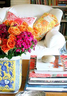 orange and hot pink: beautiful floral arrangement