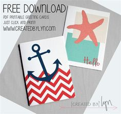 Printable Nautical Thank You Cards