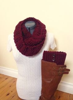 Boot cuff set with infinity scarf - Dark Marsala/Wine Red with brown buttons by GrindleHillFineGoods on Etsy https://www.etsy.com/listing/217064196/boot-cuff-set-with-infinity-scarf-dark