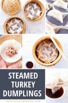 Turkey Steamed Chinese Dumplings are a fun twist on traditional Chinese crystal skin dumplings like Fun Guo (pork) and Har Gow (prawn). With added cranberries, they're ideal for something a little different around the holidays or Christmas but equally great for a dim sum feast at any time of year! #FeastGloriousFeast