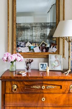 we love the personal touches on designer Cece Barfield Thompson's dresser that doubles as a chic vanity