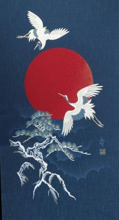 Retro Wallpaper Discover New Japanese cotton Noren quilting panel cloth - flying cranes moon and tree Japanese Artwork, Japanese Tattoo Art, Japanese Painting, Japanese Art Modern, Traditional Japanese Art, Japanese Poster, Chinese Painting, Vintage Japanese, Kunst Tattoos