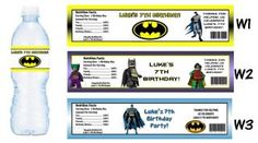Batman Printed Water Bottle Labels Birthday Party Favors Supplies