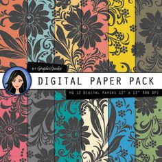 Floral digital paper Rainbow Floral backgrounds by GraphicsJunkie, $4.80