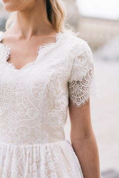 Opal gown from Saphia Blue by ECD  | E & E Photography |  | modest wedding dress | modest | wedding gown | lace | a-line | Paris | wedding | short sleeves | wedding dress with sleeves |