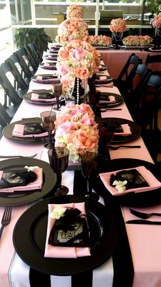 #Bridal shower decor # white hydrangeas, different pink tones, and pearls for a channel theme. Design by Exclusive Designs & Events