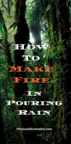 In this very well done video an experienced bushcrafter shows you how to get a good fire going in the pouring rain. As you'll discover he didn't choose a light rain to demonstrate his skill. http://www.thegoodsurvivalist.com/how-to-make-fire-in-pouring-rain-very-useful-and-underestimated-bushcraft-skill/