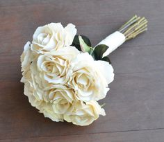 Vanilla rose faux flower wedding bouquets from Holly's Wedding Flowers. Find us on Etsy at Holly's Flower Shoppe. #Afloral