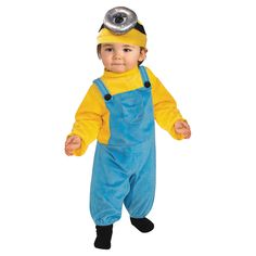 An Awesome Minions Movie: Stuart Toddler Costume. An interesting collection of Minions Costumes for Halloween at PartyBell. Baby Minion Costume, Minion Halloween Costumes, Funny Costumes, Halloween Outfits, Minion Baby, Trendy Halloween, Movie Costumes, Halloween Projects, Halloween Halloween