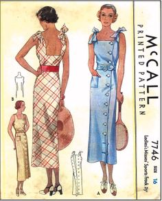 McCall #7746 - 1930s Ladies Sports Frock Sewing Pattern