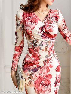 Spring Autumn Long Sleeve Sexy V-Neck Floral Printed Bodycon Dress - Flowery Dresses, Elegant Dresses, Women's Dresses, Beautiful Dresses, Fashion Dresses, Trendy Dresses, Dance Dresses, Dresses Online, Short Dresses