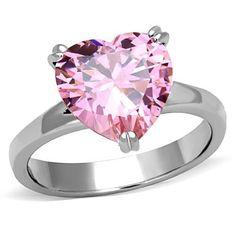 STAINLESS STEEL ROSE PINK SAPPHIRE CZ HEART BOLD SOLITAIRE WOMEN'S RING #Solitaire