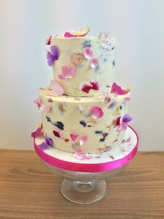 Wedding Cake with Edible Flower Petals