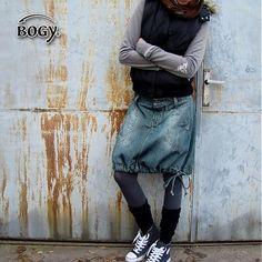 BOGY / dámská riflová sukně (balónová) v odstínu petrolej