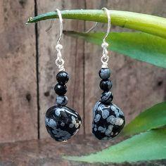 Snowflake Obsidian Earrings, Gemstone Dangle Earrings, Black Grey Earrings, Black Gray, Abstract Earrings, Bohemian Earrings, Boho, Handmade by RavenTrailJewelry on Etsy