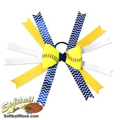 Handmade Softball Hair Bow made from real softball leather Chevron Ribbon, White Ribbon, Ribbon Colors, Softball Hair Bows, Softball Hairstyles, Different Font Styles, Making Hair Bows, Blue And White, Yellow