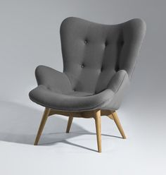 "I could do some serious ""pinning"" curled up in this grey mid century modern chair! www.twosimplepeople.com"